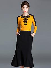 Majica s rukavima Ženske,Jednostavno Ležerno/za svaki dan Žakard-Dugih rukava Okrugli izrez-Proljeće Jesen Poliester
