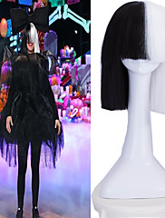 cosplay účastník on-line sia naživu jedná poloviny černý&bílá krátká paruka s parukou odolnou bowknot příslušenství kostým tepla