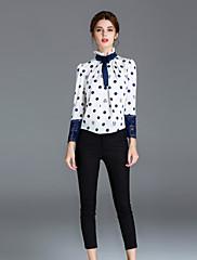Majica Žene,Jednostavno Ležerno/za svaki dan Na točkice-Dugih rukava Uski okrugli izrez-Proljeće / Jesen Bijela Poliester