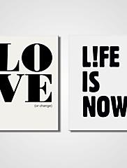 キャンバスセット / アンフレームキャンバスプリント カジュアル / 文字 Modern / リアリズム,2枚 キャンバス 横長 版画 壁の装飾 For ホームデコレーション