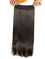 5 klipovi dugo ravno svijetlo smeđe (# 6) sintetička kosa isječak u ekstenzija za žene