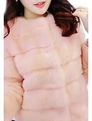 Mujer Noche Un Color Abrigo de Piel,Cuello Barco Invierno Piel Sintética Rosa / Blanco / Negro Grueso
