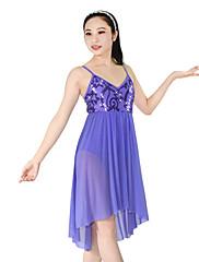 Ballet Kjoler Dame Børn Ydeevne Nylon Spandex Polyester Palliet-belagt Pailletter Draperet Plisseret 2 Dele Ærmeløs NaturligKjole