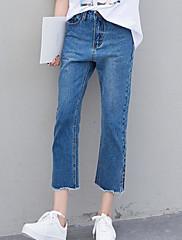 Damer Gade Mikroelastisk Bredt Bukseben Løstsiddende Jeans Bukser,Alm. taljede Ensfarvet
