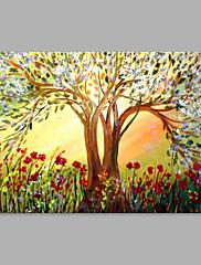 手描きの 花柄/植物の 横式,アーティスティック 1枚 キャンバス ハング塗装油絵 For ホームデコレーション