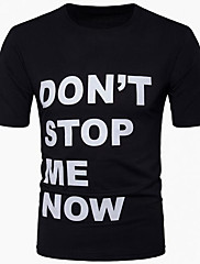 Masculino Camiseta Casual Simples Verão,Sólido Letra Algodão Decote Redondo Manga Curta