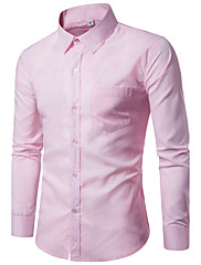 Masculino Camisa Social Festa Para Noite Casual Trabalho Tamanhos Grandes Simples Todas as Estações,Sólido Algodão Colarinho Clássico