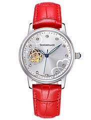 Mulheres Relógio Esqueleto Relógio de Moda relógio mecânico Automático - da corda automáticamente Impermeável Noctilucente Couro Legitimo