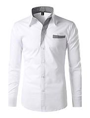 Masculino Camisa Social Casual Trabalho Simples Activo Sólido Poliéster Colarinho Clerical Manga Longa