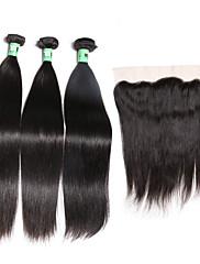 閉鎖が付いている毛横糸 マレーシアンヘア ストレート 18ヶ月 4個 ヘア織り