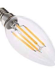 4W LED-stearinlyspærer C35 4 COB 300-400 lm Varm hvid Dæmpbar Dekorativ Vekselstrøm 220-240 V 1 stk.