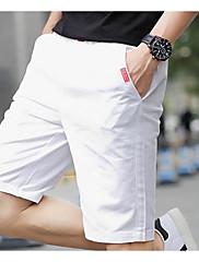 Masculino Simples Activo Cintura Média Micro-Elástica Chinos Calças,Reto Sólido