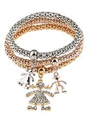 Dame Armbånd Diamant Natur Boheme Stil Personaliseret Dobbeltsidet Metallisk Rhinsten Legering Cirkelformet Smykker TilFest Halloween