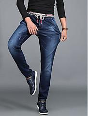 Masculino Simples Cintura Alta Micro-Elástica Jeans Calças,Reto Sólido