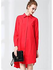 Damer Afslappet/Hverdag Skede Skjorte Kjole Ensfarvet,Krave Knælang Over knæet Langærmet Bomuld Efterår Alm. taljede Mikroelastisk Medium