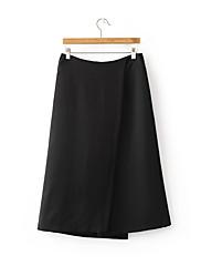 Feminino Moda de Rua Cintura Média Micro-Elástica Chinos Calças,Solto Sólido