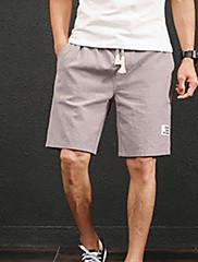 Masculino Simples Cintura Média Micro-Elástica Shorts Calças,Solto Sólido