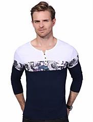 Masculino Camiseta Casual Tamanhos Grandes Simples Temática Asiática Todas as Estações,Floral Estampado Estampa Colorida Algodão Elastano