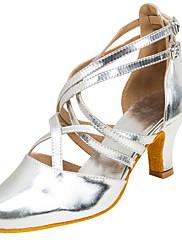 Damer Latin Syntetisk læder Sandaler Optræden Spænde Kryds & Tværs Cubanske hæle Sølv 5 - 6,8 cm Kan tilpasses