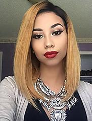 Sort rod blonde foran menneskelige hår parykker lige med baby hår 130% tæthed brasiliansk jomfruhår kort bob paryk til kvinde