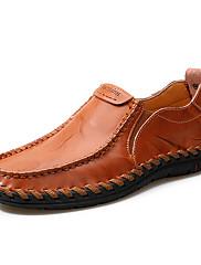 Masculino sapatos Couro Primavera Outono Conforto Mocassins e Slip-Ons Elástico Para Casual Festas & Noite Preto Vermelho Castanho Claro