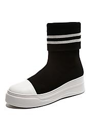 Ženske Cipele PU Jesen Modne čizme Čizme Ravna potpetica Okrugli Toe Za Formalne prilike Zabava i večer Crn