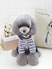 Cachorro Camisola com Capuz Roupas para Cães Casual Riscas Cinzento Rosa claro