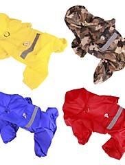犬 レインコート 犬用ウェア カジュアル/普段着 純色 イエロー レッド ブルー 迷彩色
