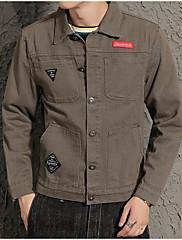 Masculino Jaqueta Casual Simples Outono,Sólido Padrão Algodão Colarinho de Camisa Manga Longa