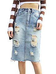 Damer Vintage Enkel Afslappet/Hverdag Knælængde Nederdele Bodycon Ensfarvet Alle sæsoner
