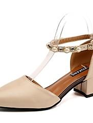 レディース 靴 PUレザー 夏 コンフォートシューズ ヒール チャンキーヒール ラウンドトウ パール 用途 カジュアル ブラック ベージュ Brown