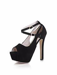レディース 靴 フロック加工 夏 ベーシックサンダル ヒール スティレットヒール オープントゥ/ピープトウ 用途 カジュアル ブラック ピンク