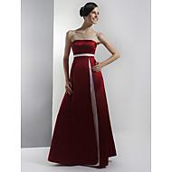 Bridesmaid Dress Floor Length Satin A Line Strapless Empire Party Dress