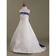 A-line/Princess Court Train Flower Girl Dress - Satin Sleeveless