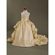 Lanting Bride Ball Gown Court Train Flower Girl Dress - Taffeta Sleeveless Spaghetti Straps with
