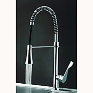 Contemporary Spring Kitchen Faucet with Color Changing LED Light