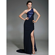 Military Ball / Formal Evening Dress - Dark Navy Plus Sizes / Petite Sheath/Column One Shoulder Sweep/Brush Train Chiffon