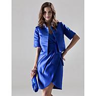 Short/Mini Satin Bridesmaid Dress - Royal Blue Plus Sizes / Petite Sheath/Column V-neck
