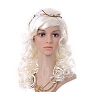 capless lang høj kvalitet syntetisk lys blond krøllet hår paryk