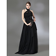 Prom/Military Ball/Formal Evening Dress - Black A-line/Princess Halter/High Neck Floor-length Stretch Satin/Tulle