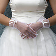 Wrist Length Fingertips Glove Satin Bridal Gloves Spring / Summer / Fall / Winter White Bow