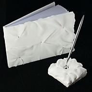 bruiloft gastenboek en pen set in witte chiffon teken in boek