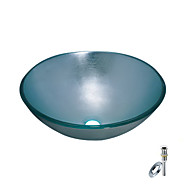 Blue Round Tempered glass Vessel Sink With Mounting Ring and Water Drain(0888-BLY-6469)