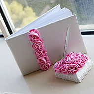 Guest Book / Pen Set Satin Garden ThemeWithPetals