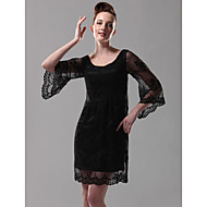 TS Couture Cocktail Party / Holiday Dress - Black Plus Sizes / Petite Sheath/Column Scoop Short/Mini Lace