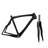 700C Full Carbon Feather Light Snake Shaped Diamond Road Bike Frame with Rigid Fork Natural Color