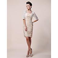 Sheath/Column Plus Sizes / Petite Mother of the Bride Dress - Champagne Knee-length Half Sleeve Chiffon / Lace