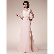 A-line Plus Size / Petite Mother of the Bride Dress Sweep / Brush Train Sleeveless Chiffon withBeading / Flower(s) / Ruffles / Criss