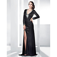 Sheath/Column V-neck Floor-length Stretch Satin Evening Dress