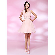 Homecoming Cocktail Party/Homecoming/Sweet 16 Dress - Pearl Pink Plus Sizes A-line/Princess V-neck Short/Mini Chiffon/Tulle
